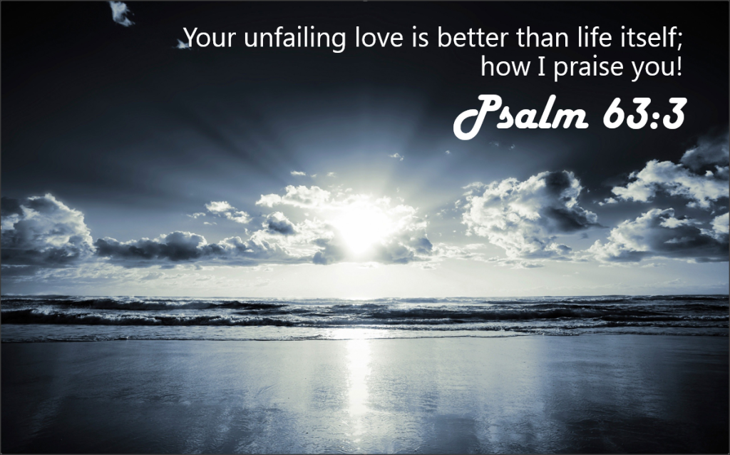 Your unfailing love is better than life itself; how I praise you! Psalm 63:3