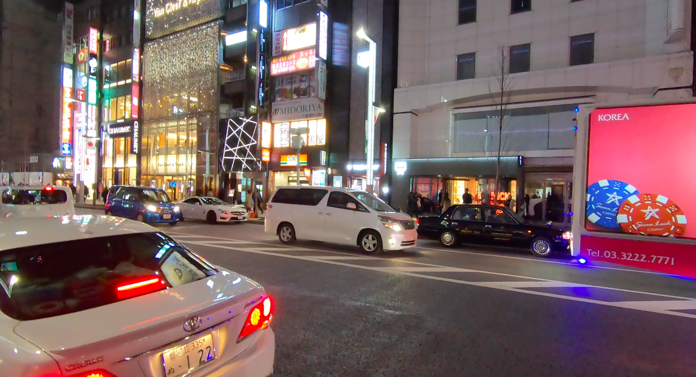 Road in Ginza with Lots of Stores